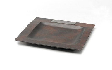 A wooden tray decorated by pewter for your kitchen