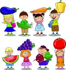 Мультфильм детей с овощей и фруктов