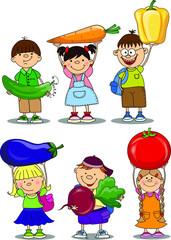 Мультфильм детей с растительным