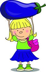 Мультфильм девушка с баклажаном