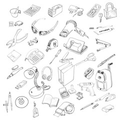 Vector set of Office equipment and stationery.