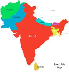 Keuken foto achterwand Wereldkaart South_Asia_map