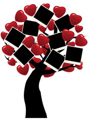 vector tree with hearts and blank photos