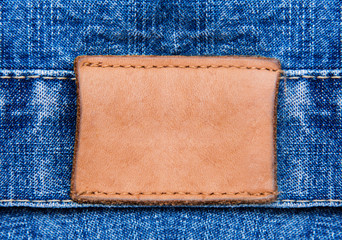 Closeup jeans leather label