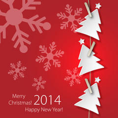 Greeting card 2014 with white Christmas Tree