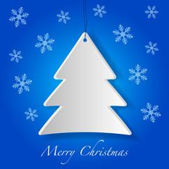 Cartolina di Buona Natale con albero e fiocchi di Neve