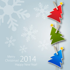 2014 Greeting card with Colours Christmas Tree
