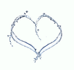 Water splash heart over white