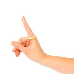 Condom on finger