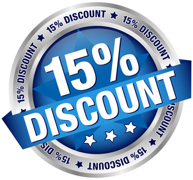 """Button Banner """"15% Discount"""" blau/silber"""