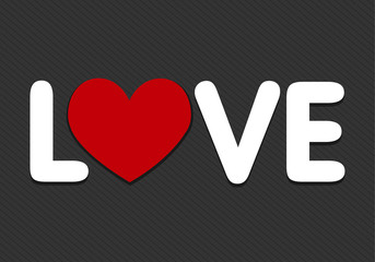 love word with heart icon