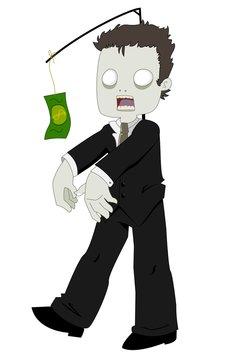 Zombie chasing money