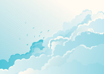 background with flying Swallows on cloudy sky.