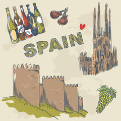 Collection of Spanish sightseeings and objects hand drawn