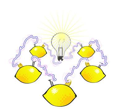 Circuit demonstration of a lemon battery
