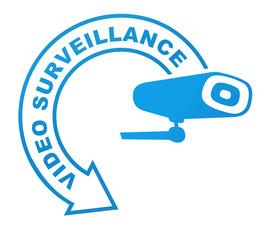 video surveillance sur symbole validé bleu