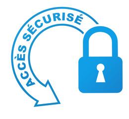 accès sécurisé sur symbole validé bleu