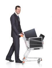 Cheerful Businessman Shopping Lcd Monitors