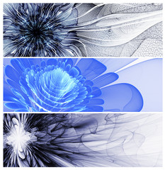 Wall Mural - Three abstract flower baners