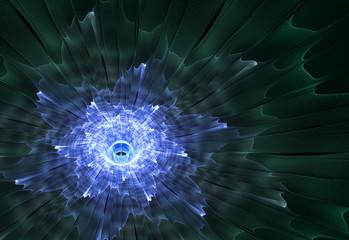 Wall Mural - Blue fractal flower