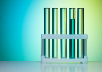 Row of test tubes in laboratory