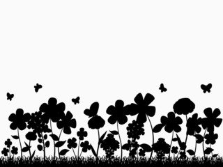 Printed roller blinds Floral black and white Flower Glade Silhouette