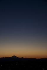blue sky over volcano