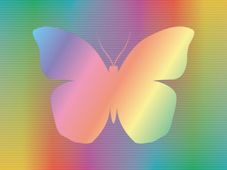 shape of butterfly over abstract spectrum background