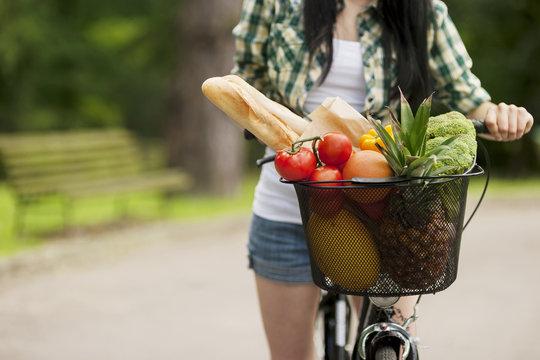 Basket filled fruits and vegetables