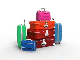 Set of suitcase isolated on white