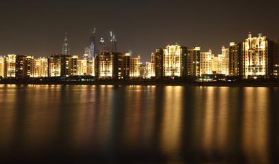 Dubai Marina skyline at night. Dubai, United Arab Emirates