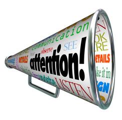 Attention Bullhorn Megaphone Sends Warning Message