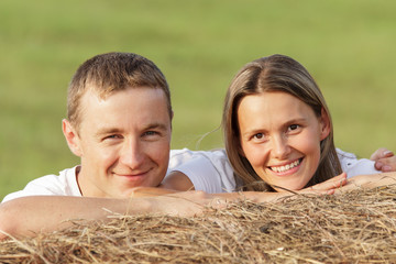 Young pair outdoors. Portrait