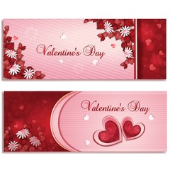 Beautiful Valentine's day banners with flowers