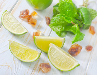 lime with mint and sugar