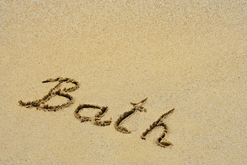 Bath handwritten in sand