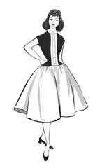 Fashion dressed woman (1950's 1960's style) Retro fashion party.