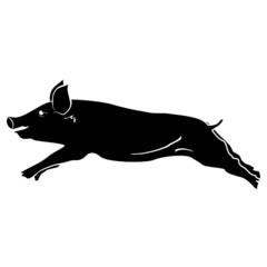 Pig symbol black - vector illustration