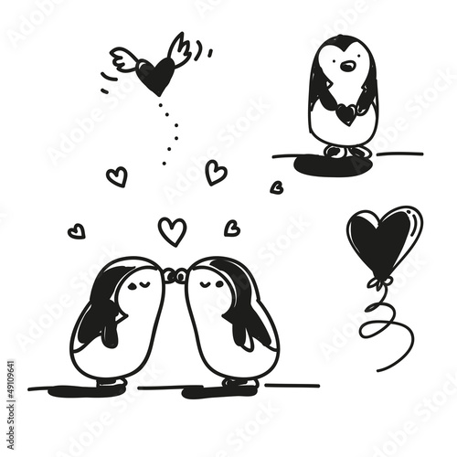 quotfirst love kissing couple penguins valentines day