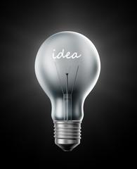 Creativity -  bulb with a filament shaped like the word idea.