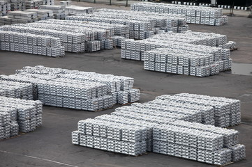 metal ingots  storage in the port