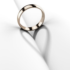 Wedding ring  with shadow shape heart