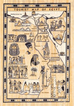 Tourist map of egypt painted on papyrus
