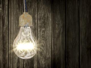 lampada su sfondo legno