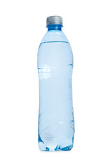plastic transperent blue Bottle of water isolated on white backg