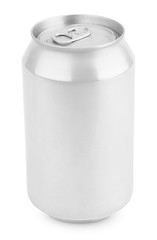 Aluminum soda can isolated on white with clipping path