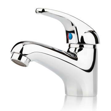 Closeup of faucet for water isolated on white with clipping path