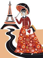 Foto op Canvas Illustratie Parijs Fashion woman in Paris