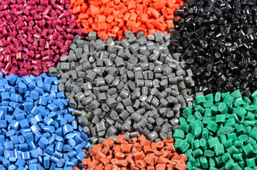 several dyed polymers