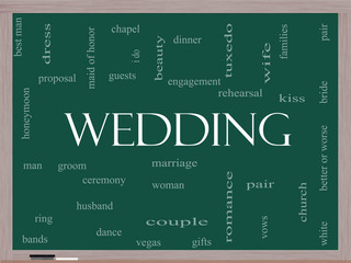 Wedding Word Cloud Concept on a Blackboard